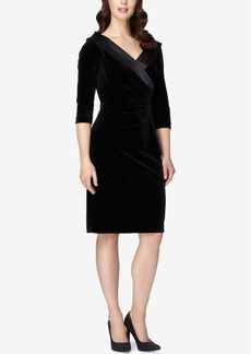 Tahari Asl Surplice Portrait-Collar Velvet Sheath Dress