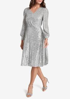 Tahari Asl Surplice Sequined Dress