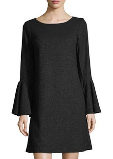 Tahari ASL Sweater-Knit Bell-Sleeve Dress