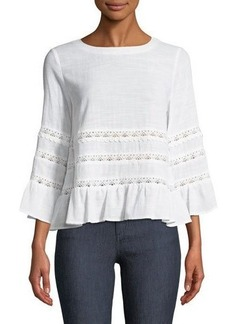 Tahari ASL Taner Lace-Trimmed Bell-Sleeve Blouse