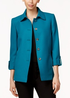 Tahari Asl Textured Three-Quarter-Sleeve Car Coat