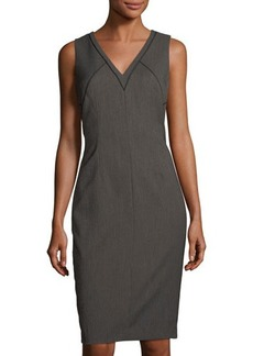 Tahari ASL Textured-Twill Sleeveless Sheath Dress