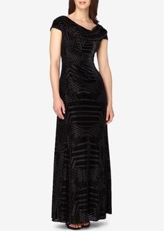 Tahari Asl Textured Velvet Cowl-Neck Gown