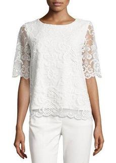 Tahari Tiara Knit-Lace Half-Sleeve Top