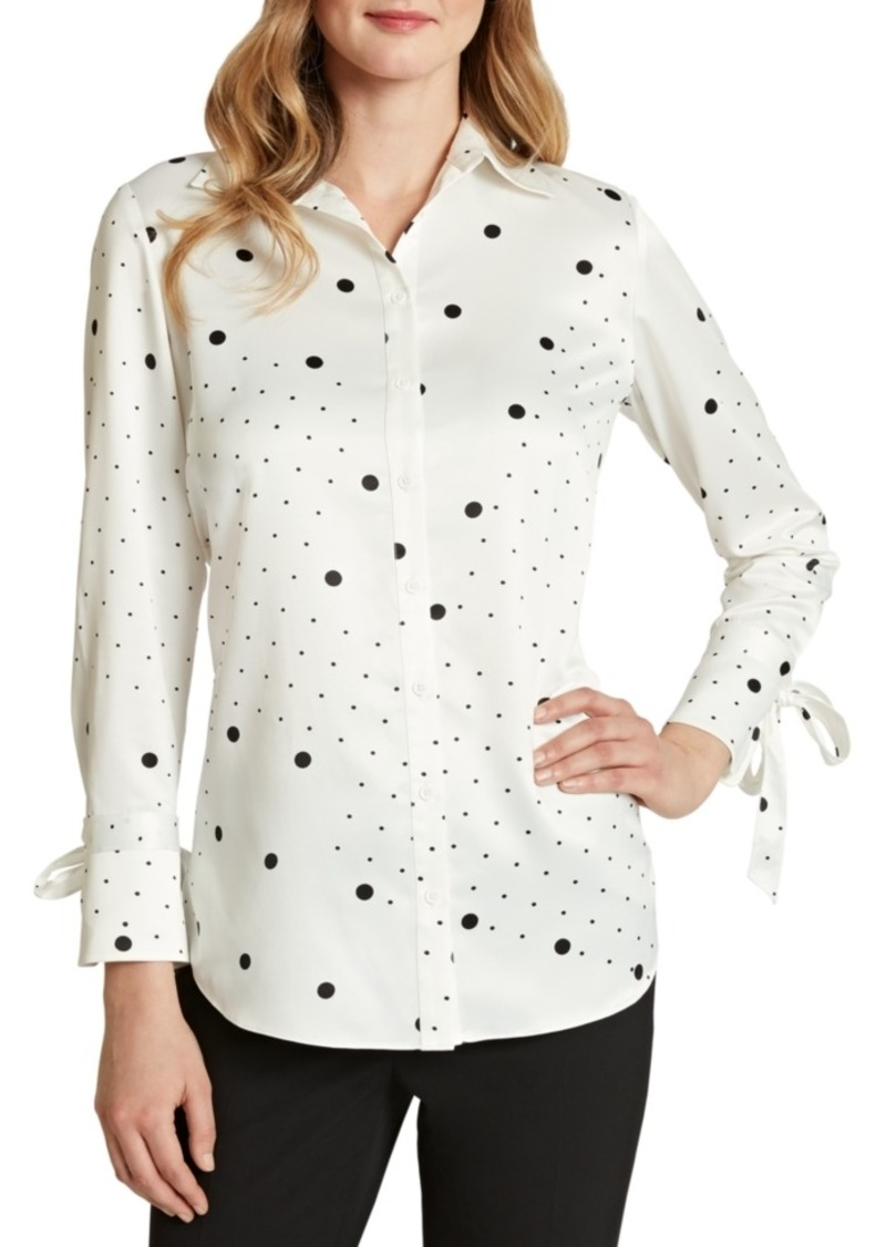 Tahari Asl Tie-Cuff Dot-Print Button-Up Shirt