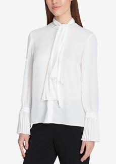 Tahari Asl Tie-Neck Button-Front Blouse