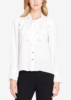 Tahari Asl Tie-Neck Georgette Blouse, Regular & Petite