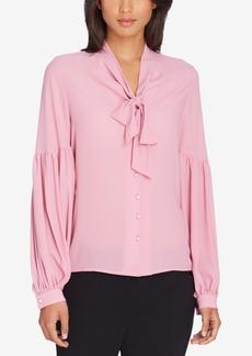 Tahari Asl Petite Tie-Neck Pleated-Sleeve Blouse