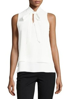 Tahari ASL Tie-Neck Sleeveless Crinkled-Crepe Blouse