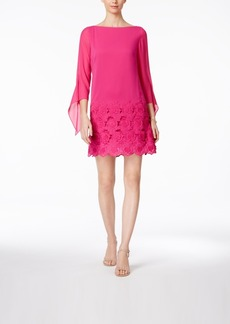Tahari Asl Tie-Sleeve Lace Border Shift Dress