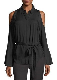 Tahari ASL Tie-Waist Cold-Shoulder Blouse