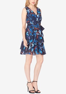 Tahari Asl Tiered Floral-Print Chiffon Dress