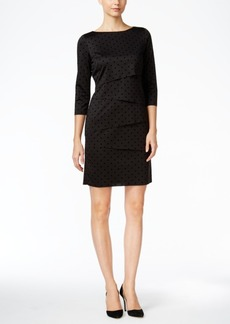 Tahari Asl Tiered Polka-Dot Sheath Dress
