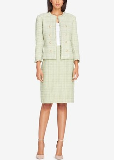 Tahari Asl Tweed Button-Embellished Skirt Suit, Regular and Petite