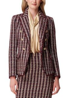 Tahari Asl Tweed Fringe-Trim Double-Breasted Blazer