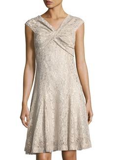Tahari ASL Twist-Top Lace Dress
