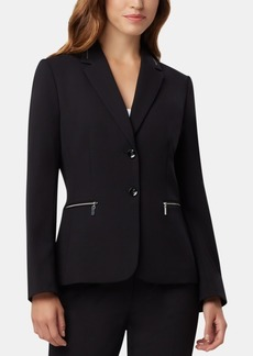 Tahari Asl Two-Button Zip-Detail Jacket