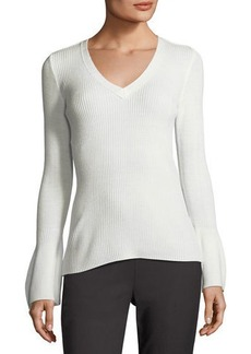 Tahari ASL V-Neck Bell-Sleeve Ribbed Sweater