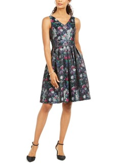 Tahari Asl V-Neck Fit & Flare Dress