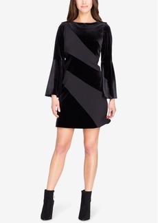 Tahari Asl Velvet & Crepe Bell-Sleeve Dress