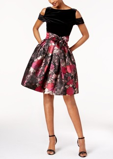 Tahari Asl Velvet & Floral-Print Fit & Flare Dress