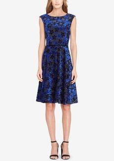Tahari Asl Velvet Fit & Flare Dress