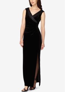 Tahari Asl Velvet Satin-Collar Surplice Gown