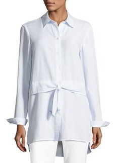 Tahari ASL Waist-Tie Striped Shirting Blouse