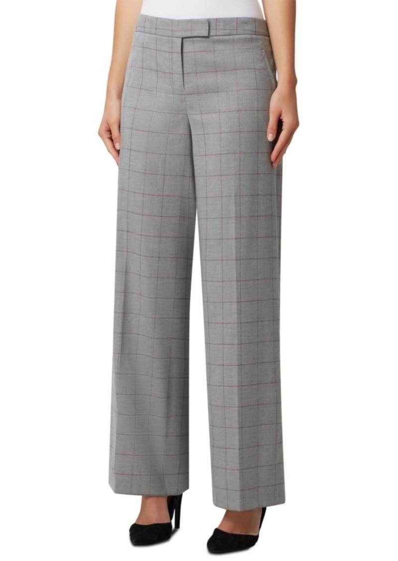 Tahari Asl Windowpane Plaid Wide-Leg Trousers