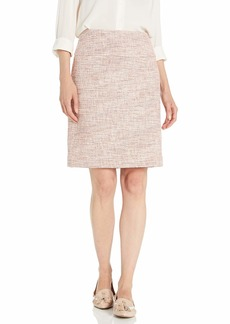 Tahari ASL Women's A-LINE Skirt Coral MET Novel Tweed