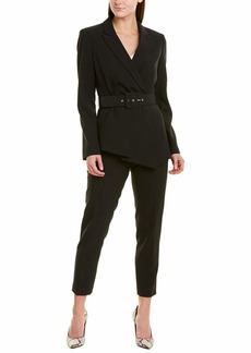 Tahari ASL Women's Belted Asymmetric Pebble Crepe Pant Suit