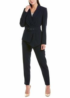Tahari ASL Women's Belted Asymmetric Pebble Crepe Pant Suit