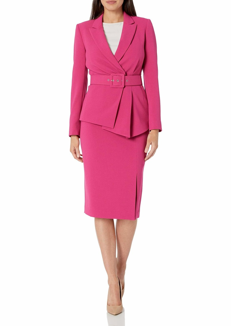 Tahari ASL Women's Belted Jacket with Pencil Skirt Suit  W