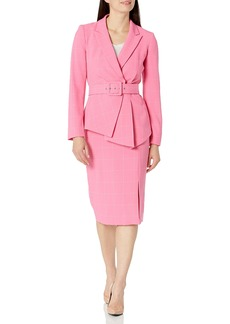 Tahari ASL Women's Belted Jacket with Pencil Skirt Suit