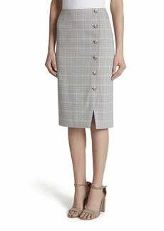 Tahari ASL Women's Button Front Pencil Skirt Blue tan Ivory Plaid