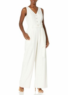 Tahari ASL Women's Button Front V Neck Wide Leg Jumpsuit