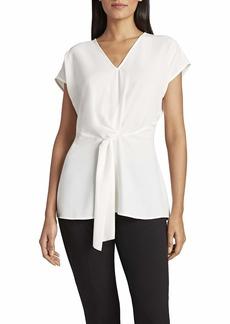 Tahari ASL Women's Cap Sleeve V-Neck Twist Front Top  XL