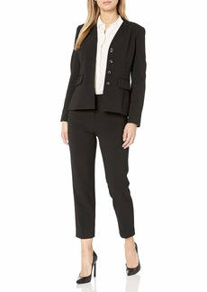 Tahari ASL Women's Collarless 4 Button Jacket and Pant Suit