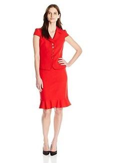 Tahari ASL Women's Crepe Short Sleeve Skirt Suit