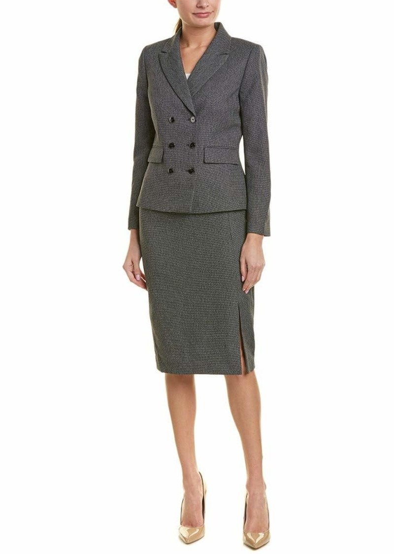 Tahari ASL Women's Double Brested Skirt Suit with Flap Pocket