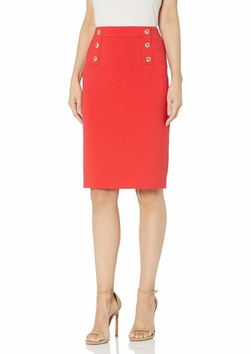 Tahari ASL Women's Plus Size Fitted Pencil Skirt with Buttons  W