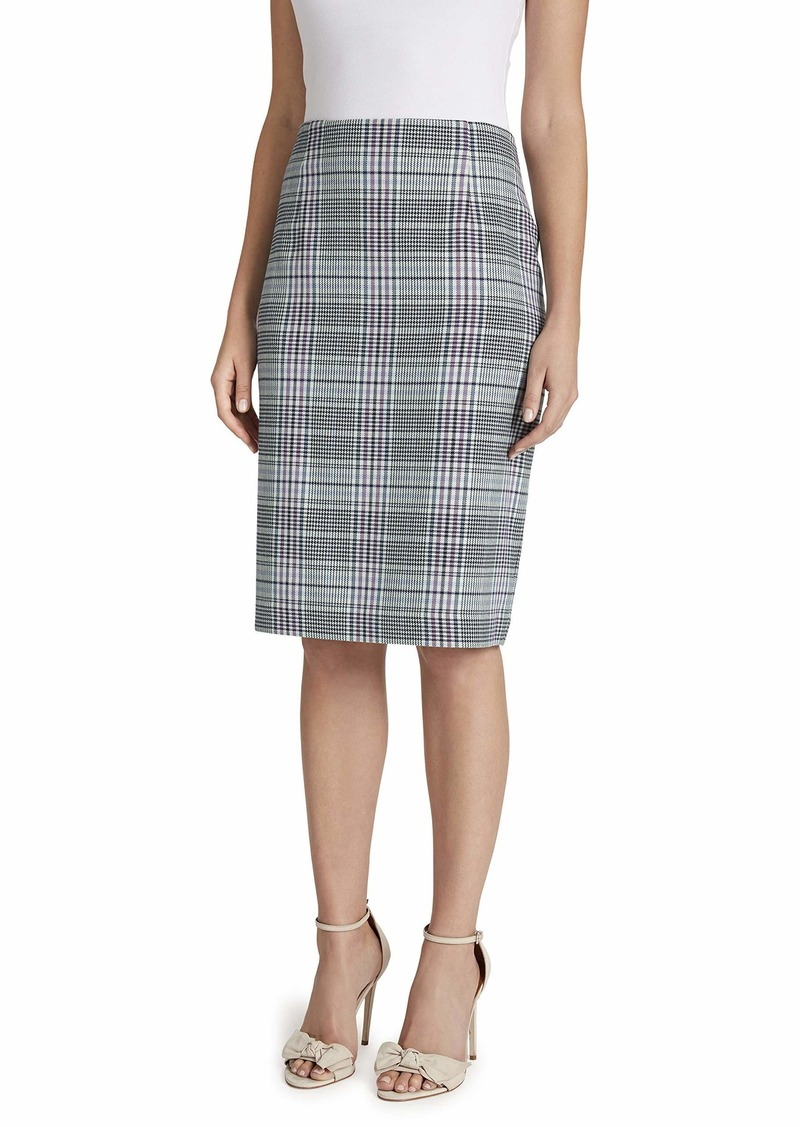 Tahari ASL Women's Houndstooth Pencil Skirt with Slit