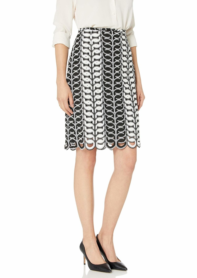 Tahari ASL Women's LACE Pencil Skirt Black White Circle LCE