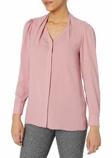 Tahari ASL Women's Long Sleeve Collarless Blouse Make up Pink L Petite