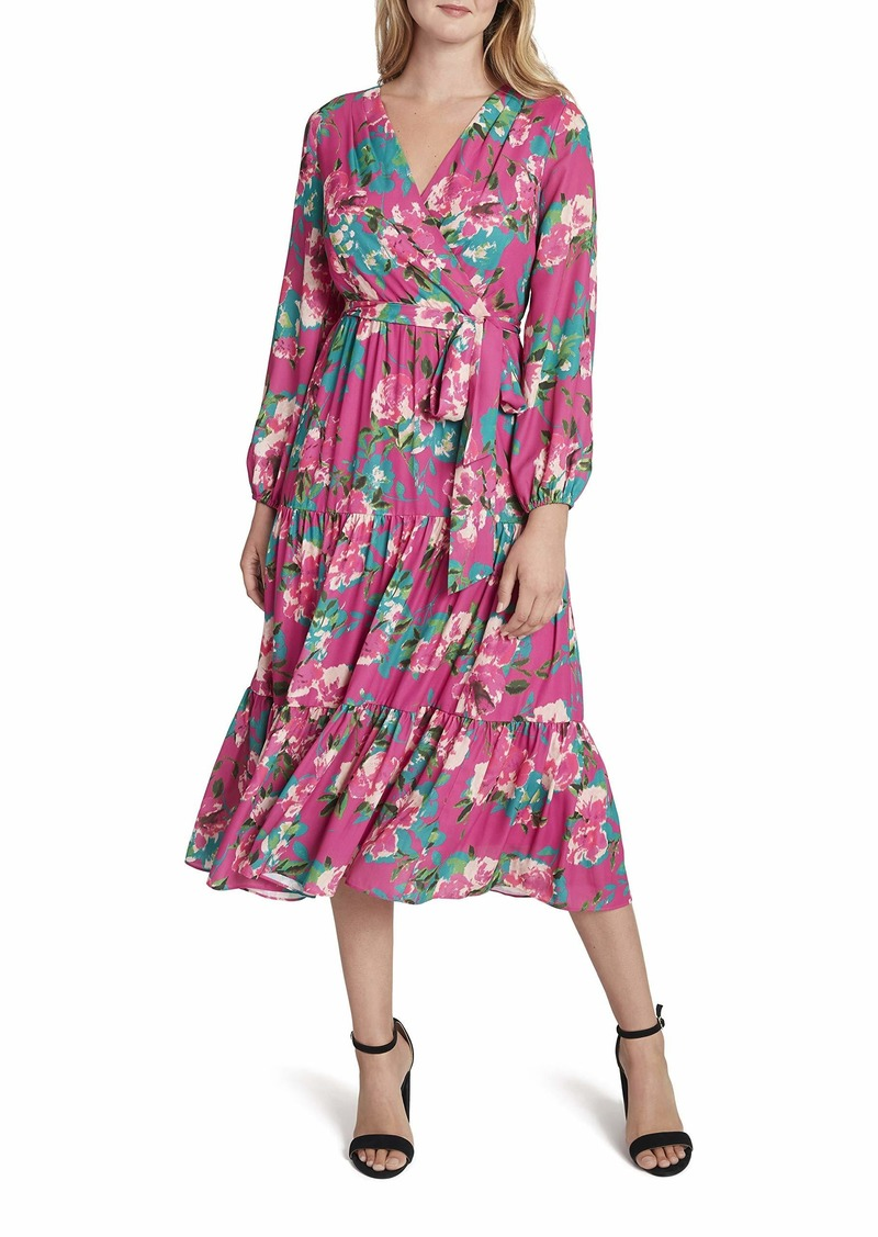 Tahari ASL Women's Long Sleeve Floral Print Surplus Dress with Prairie Skirt
