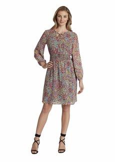 Tahari ASL Women's Long Sleeve Floral Smocked Dress