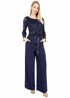 Tahari ASL Women's Long Sleeve Lace Combo Top Jumpsuit