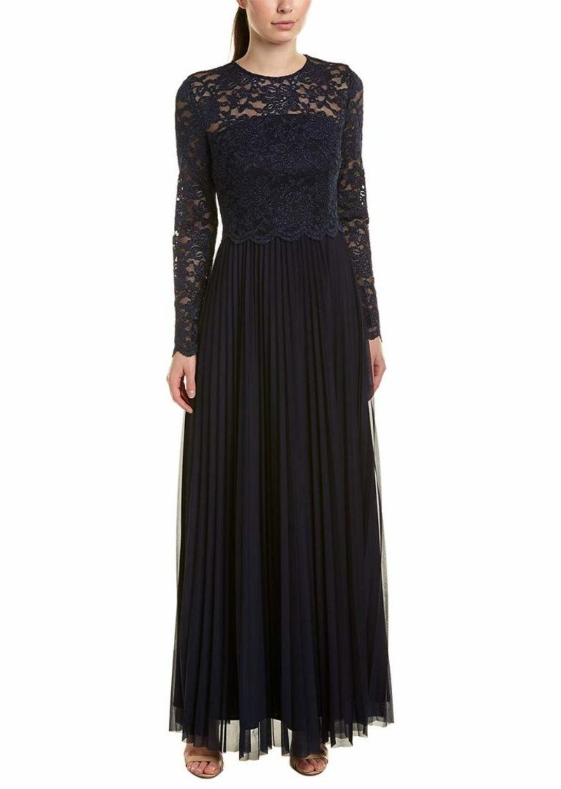 Tahari ASL Women's Long Sleeve LACE TOP Pleated Skirt Gown