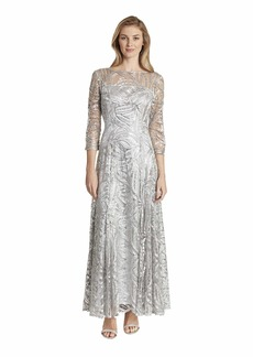Tahari ASL Women's Long Sleeve Sequin Embroidered Gown