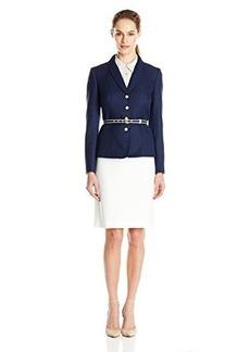 Tahari ASL Women's Missy Herringbone Skirt Suit with Belt